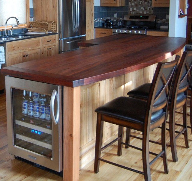 Reclaimed Hickory Island With Wood Top Kitchen
