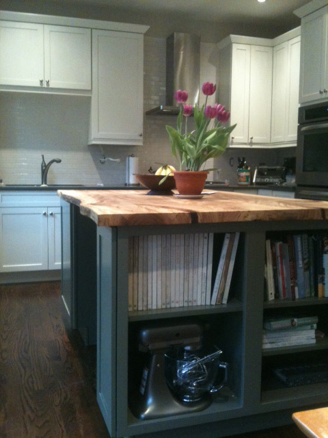 Reclaimed Live Edge Elm Slab Kitchen Island Contemporary