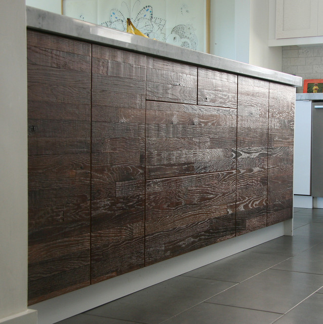 Reclaimed lumber ikea kitchen rustic kitchen los for Idea kitchen cabinet doors