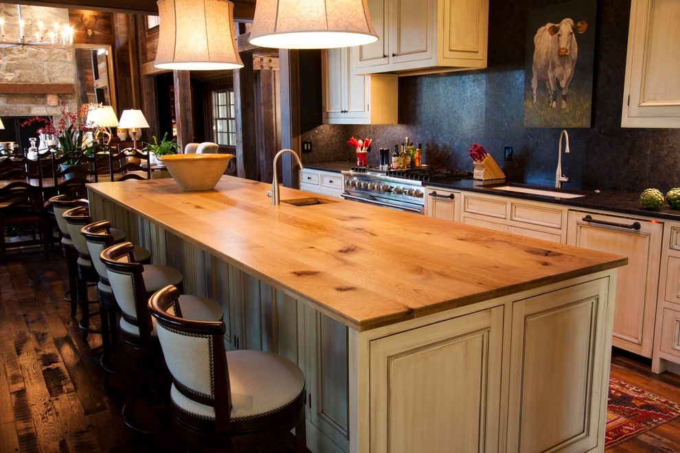 Example of a mountain style kitchen design in Other