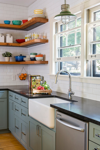 Reclaimed Open Shelving Farmhouse Kitchen Minneapolis By Sicora Design Build