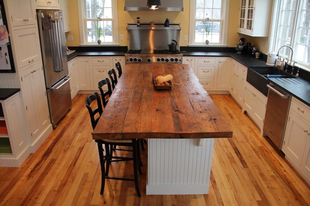 Counter Island reclaimed white pine kitchen island counter - transitional