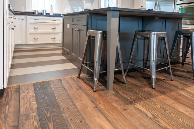 Reclaimed Wide Plank Flooring   Traditional   Kitchen ...
