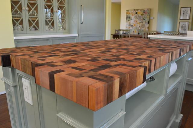 reclaimed wood butcherblock countertop traditional