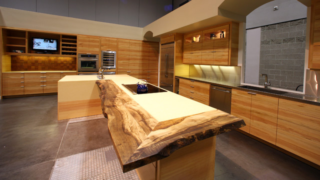 Reclaimed Wood Cabinets, Splash and Accents - Contemporary - Kitchen ...