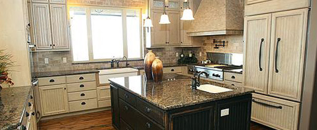 Reclaimed wood floor and cabinets traditional-kitchen