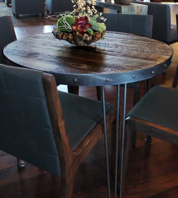 Reclaimed Wood Round Dining Table Modern Kitchen