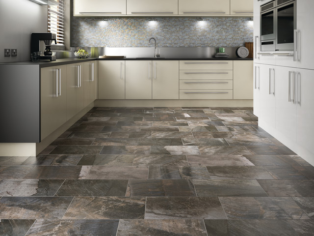 Rectangle Porcelain Floor Contemporary Kitchen