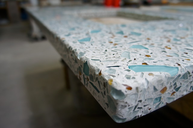 Recycled Glass Amp Concrete Countertop Teal Mirror