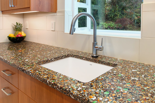 Recycled Aluminum Countertops : Recycled glass countertop and custom cherry cabinets