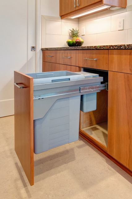 Recycled glass countertop and custom cherry cabinets contemporary
