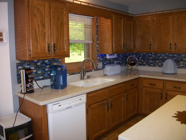 Recycled Grey, Blue, & White Backsplash - Eclectic - Kitchen - New ...