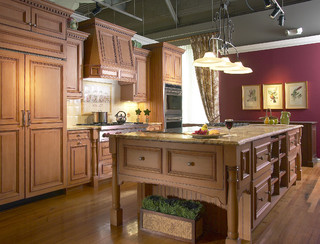 Red Accent Wall In Country Kitchen Traditional Kitchen