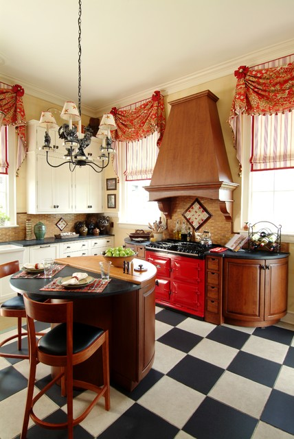 Red AGA  Traditional  Kitchen  boston  by K Marshall Design Inc