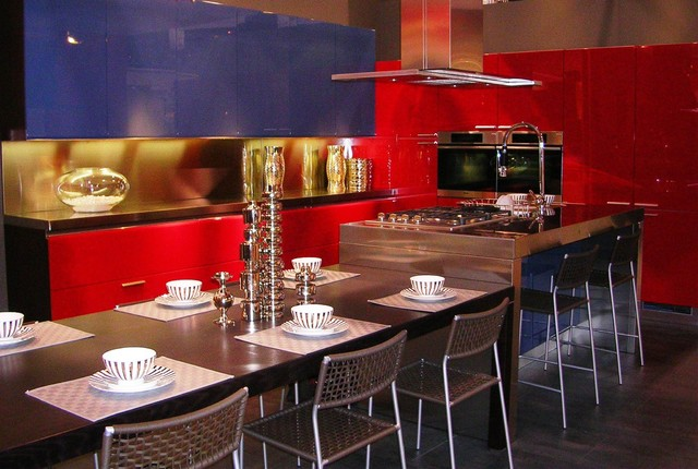 Red And Blue Modern Kitchen In Buenos Aires San