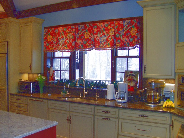 Red And Cream Traditional Kitchen