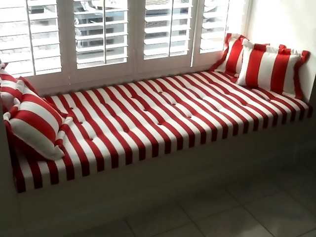 Incredible Red And White Striped Window Seat Cushion And Pillows Dailytribune Chair Design For Home Dailytribuneorg