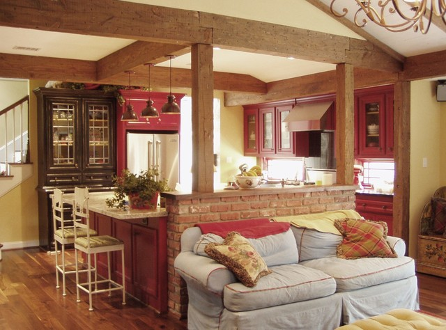 Red country kitchen farmhouse kitchen houston by for Red and white country kitchen ideas