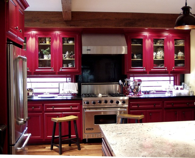 Red Country Kitchen Farmhouse Kitchen