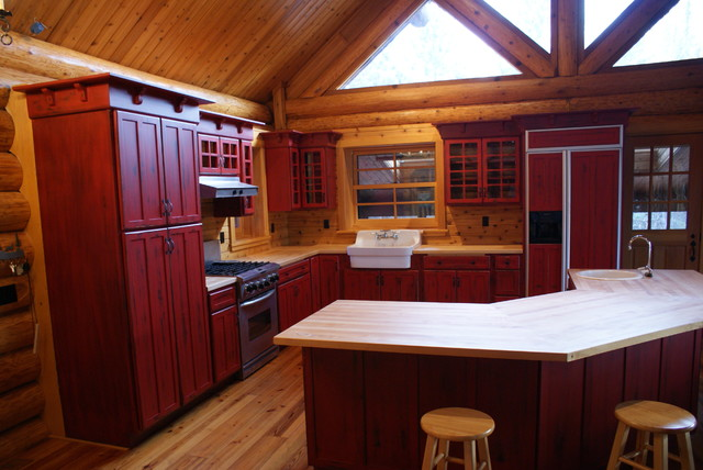 Red distressed kitchen cabinets - Rustic - Kitchen - Other ...