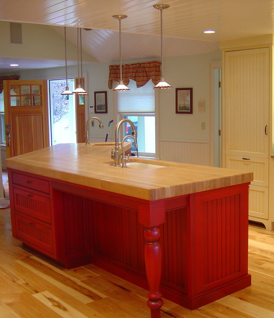Red Island With Maple Butcher Block Top And Turned Leg Traditional Kitchen Portland Maine By Zarse Custom Cabinet Company Houzz Uk