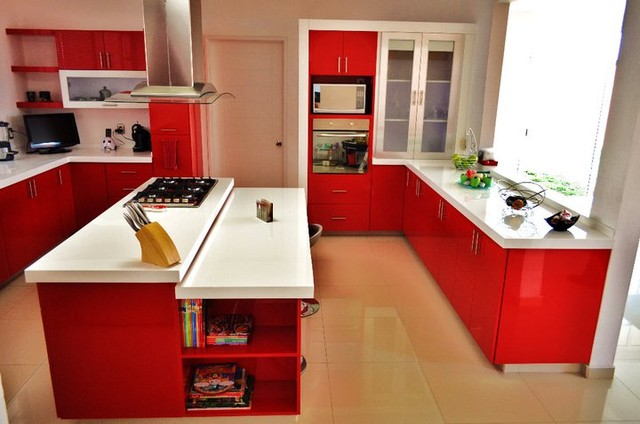 Red Kitchen By Arturo Medellin modern-kitchen