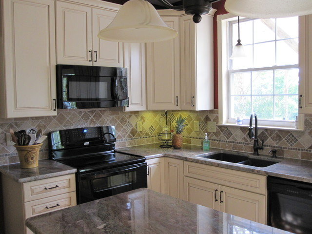 Red kitchen with white cabinets traditional kitchen - Red kitchen white cabinets ...