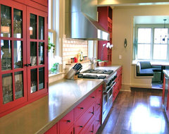 Red Painted Kitchen traditional kitchen