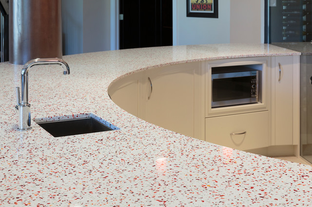 Red Rocks GEOS Recycled Glass Surface Basement Bar Contemporary Kitchen