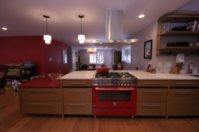 Red Stove Contemporary Kitchen Boston By Clever