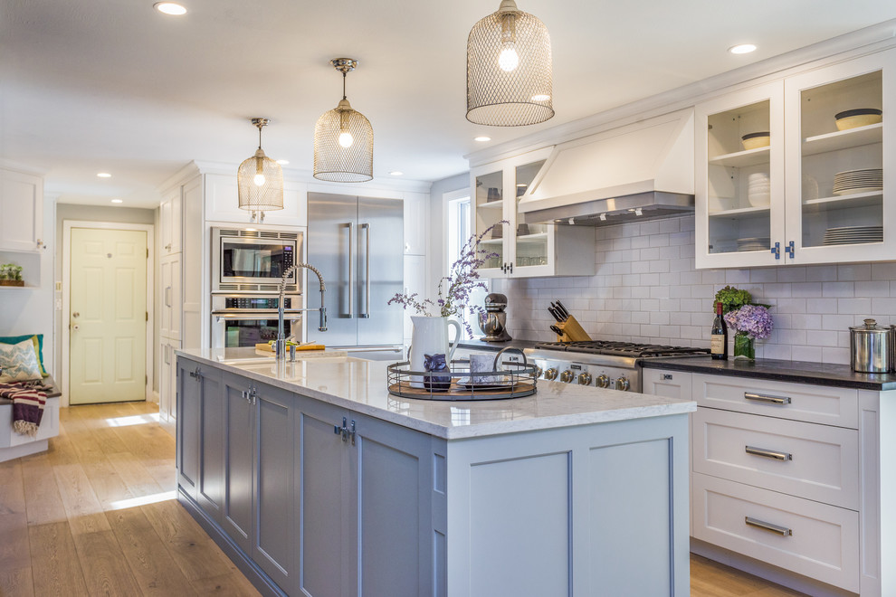 Inspiration for a transitional kitchen remodel in Manchester