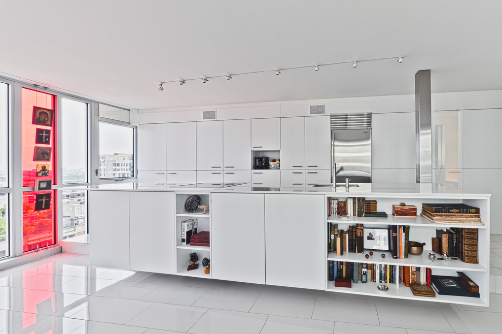 Example of a minimalist galley kitchen design in Ottawa with flat-panel cabinets, white cabinets and stainless steel appliances
