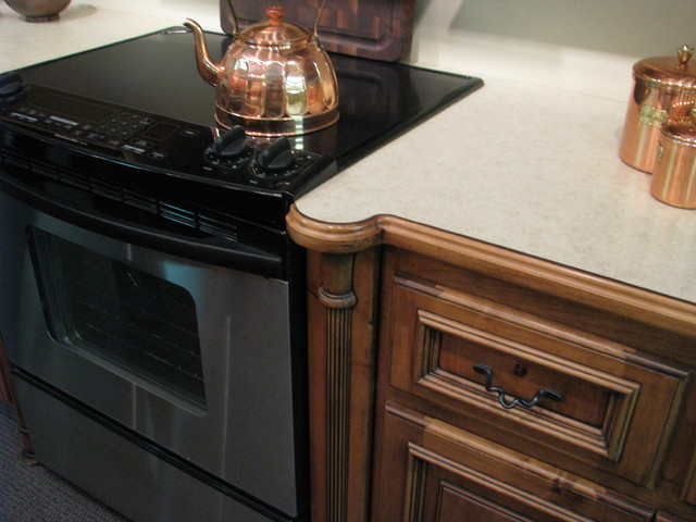 reed post leg for base cabinet traditional kitchen