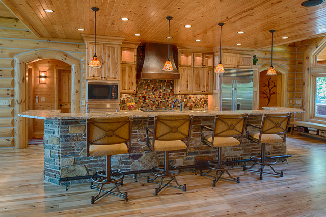 Refined Log Home Rustic Kitchen