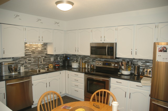Refinish Kitchen Cabinets Oak to White - Contemporary - Kitchen - vancouver - by Pure Luxe Painting
