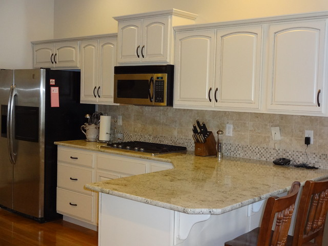 Refinished Dover White Kitchen American Traditional Kitchen Boise By Revive Cabinetry