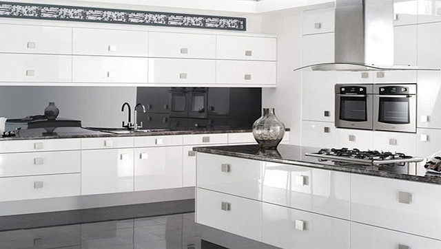 Reflections High Gloss White Kitchen - modern - kitchen cabinets