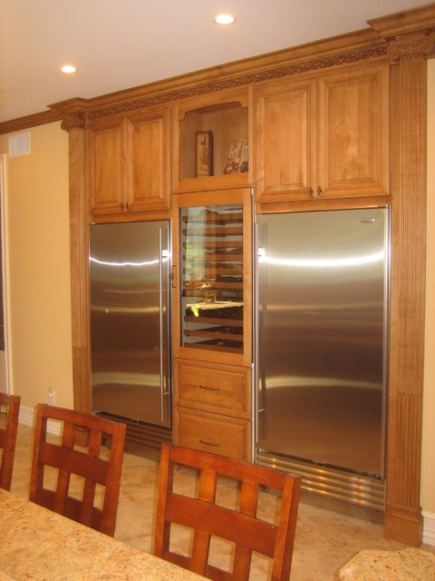 refrigeration wall with wine frig traditional-kitchen