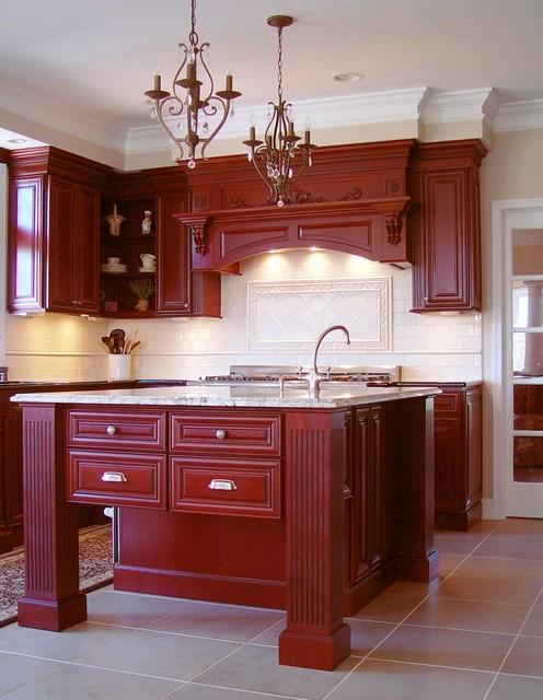 Remarkable Red Kitchen traditional-kitchen