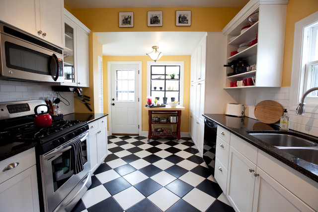 black and white floor tile kitchen. remodeled kitchen traditional