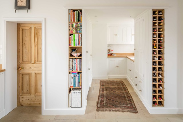 Large Farmhouse Hallway Idea In Other With White Walls