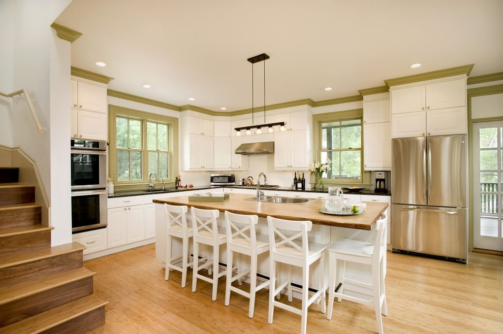 Kitchen - contemporary kitchen idea in Boston with stainless steel appliances