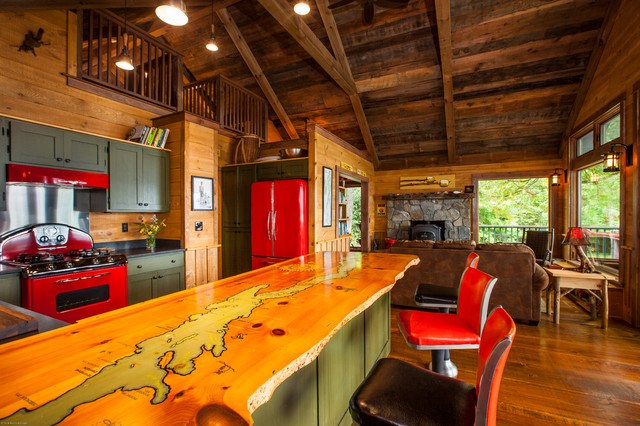 Renovation of 50 39 s ranch style home rustic kitchen for Ranch style kitchen