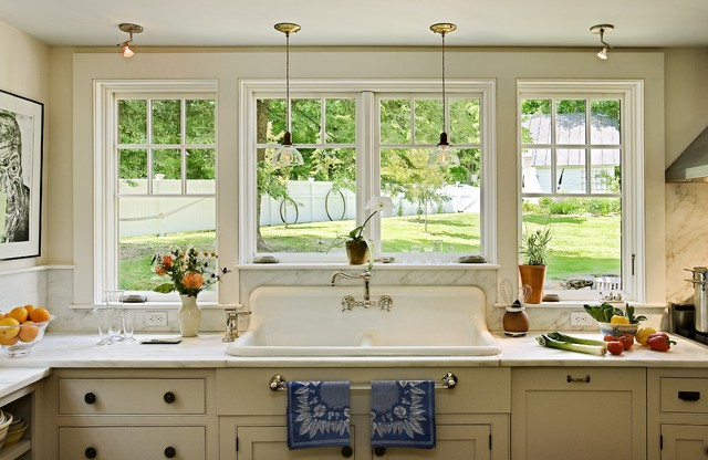 Traditional Kitchen Idea In Burlington With A Drop In Sink, Marble  Countertops, White