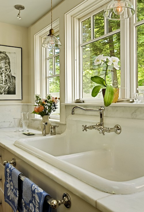 Repurposing salvaged sink traditional kitchen
