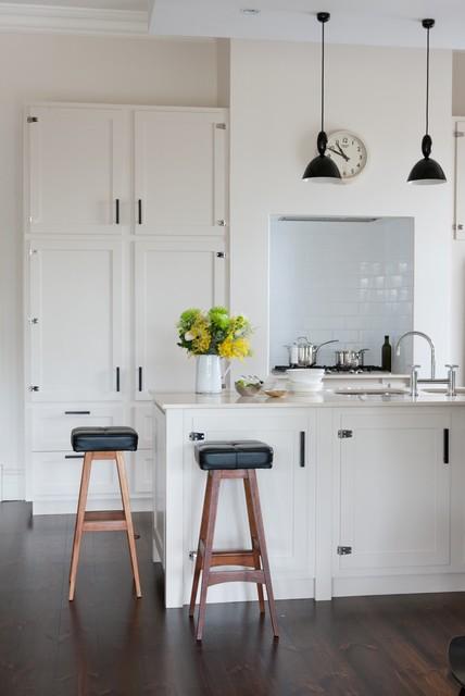 Inspiration for a transitional kitchen remodel in Adelaide with shaker cabinets, beige cabinets, white backsplash and subway tile backsplash