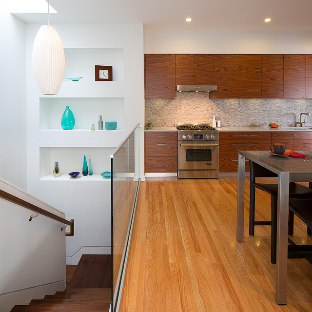 Galley Kitchen With Half Wall: Retaining Wall House