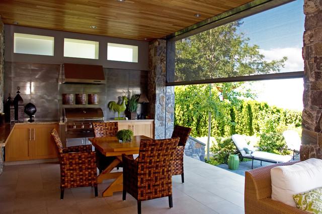 Wonderful Retractable Screens Bring Outdoor Living   Okanagan Style  Contemporary Kitchen