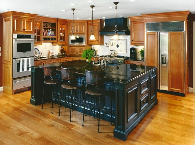 Example Of A Classic Kitchen Design In Cincinnati With Raised Panel  Cabinets And Medium Tone