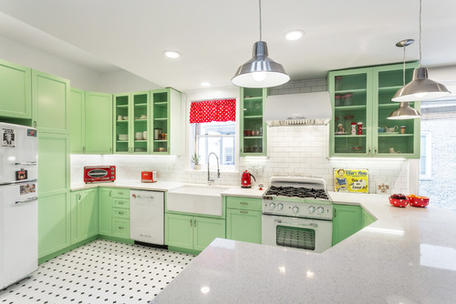 picture of a well styled vintage kitchen with red modern touches